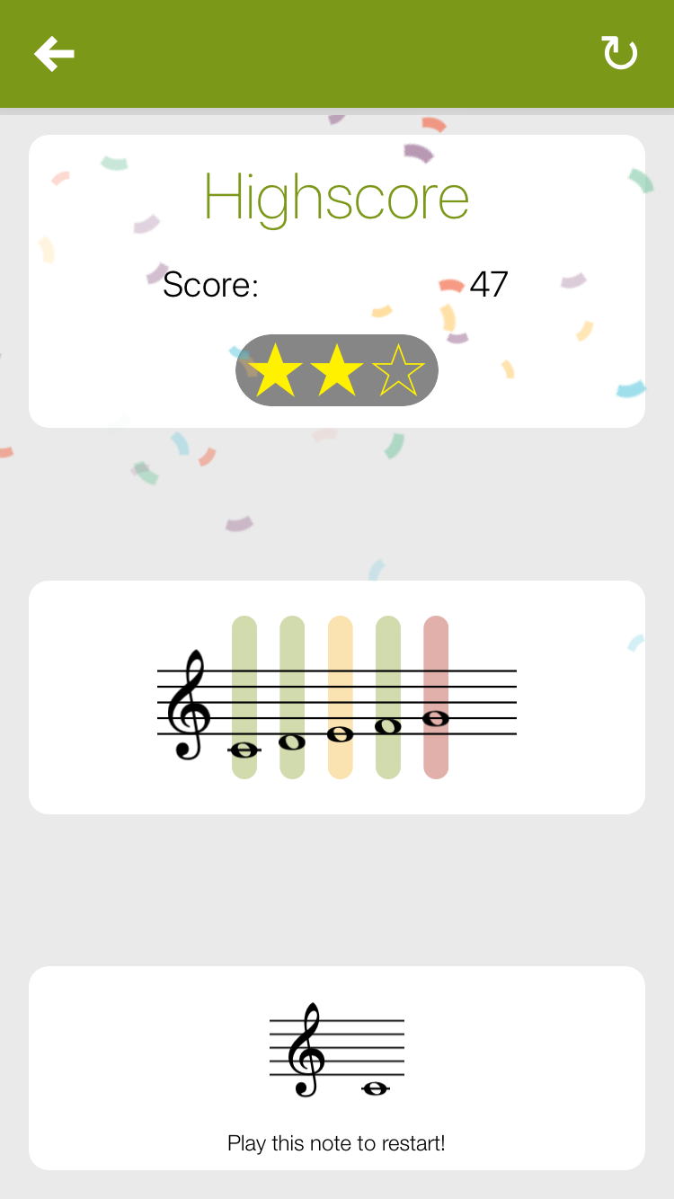 Read Music - Highscore View after playing a game